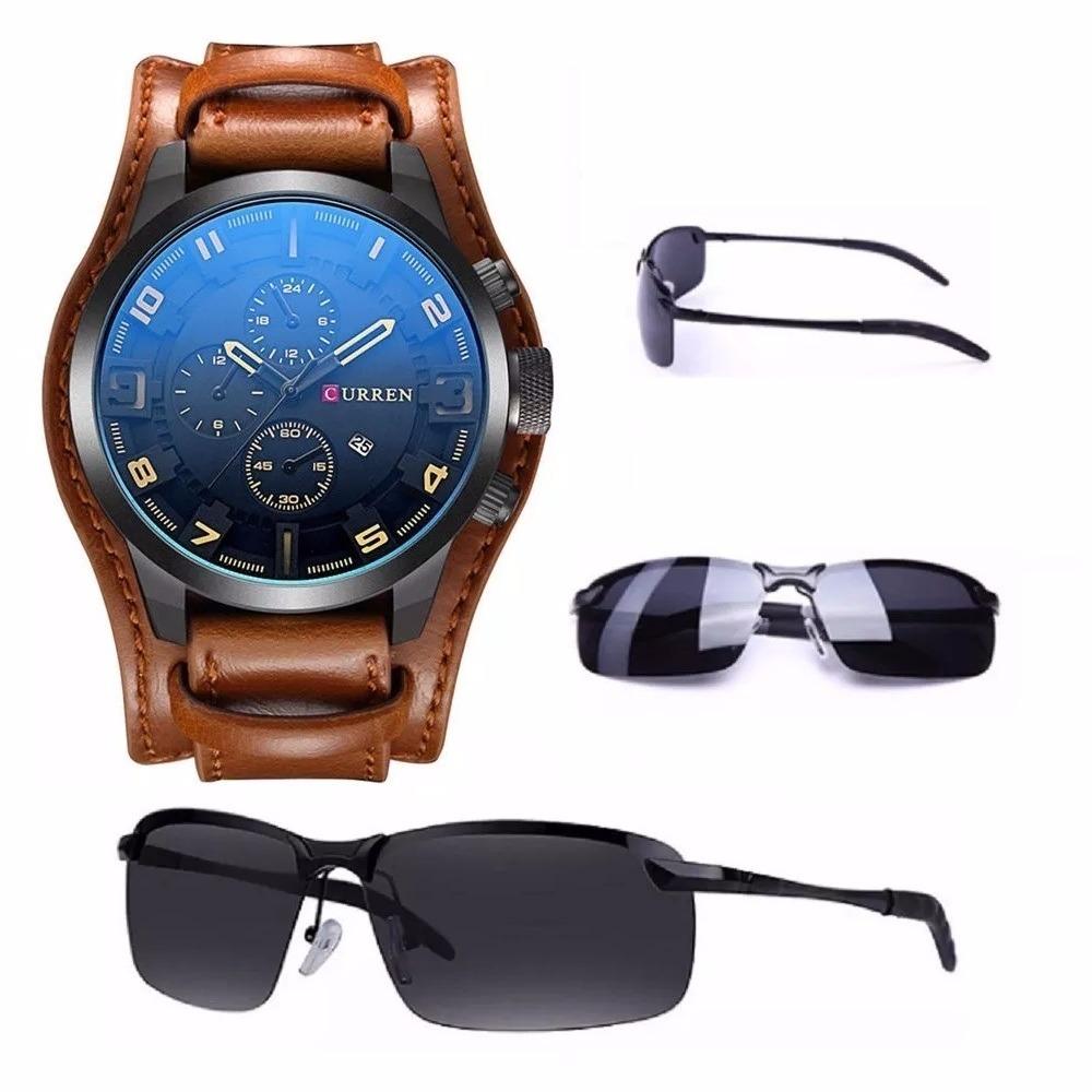 0f970ed2396 relógio barato bracelete masculino 8225 curren couro marrom. Carregando  zoom.