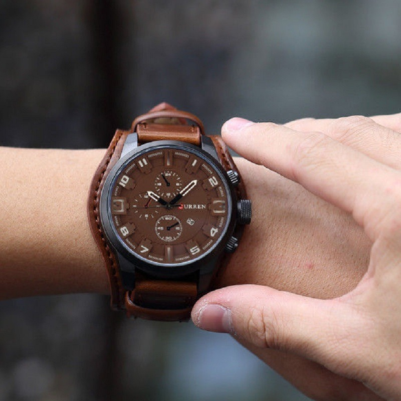 1aabd7b3e6d Relógio Barato Bracelete Masculino 8225 Curren Couro Marrom - R  124 ...