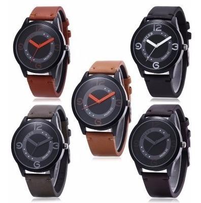 relógio barato desing masculino moderno pulseira couro
