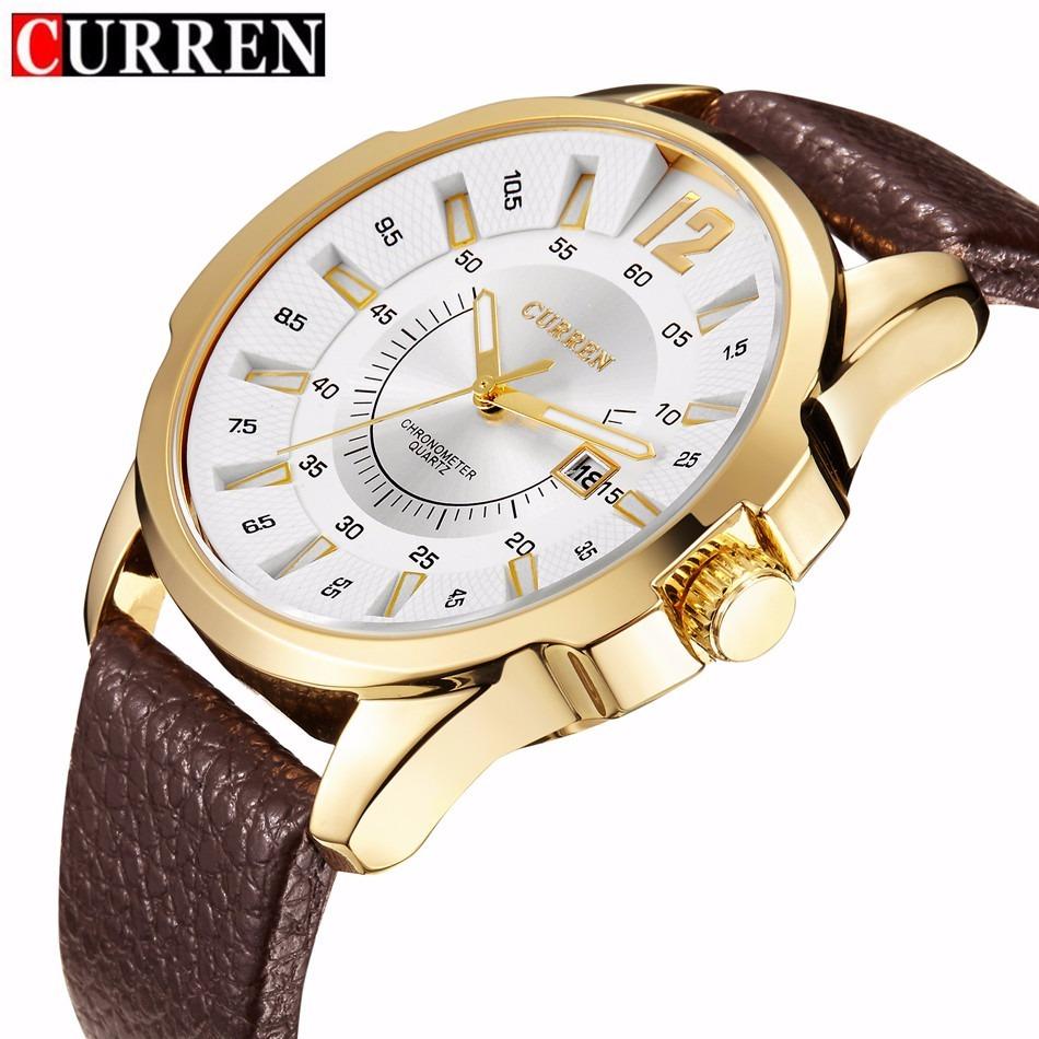 bfecd793156 relógio barato masculino curren 8123 dourado pulseira couro. Carregando zoom .