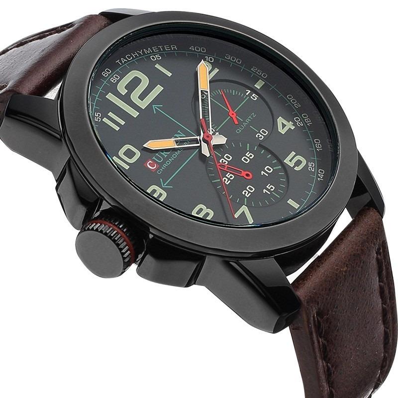 34a8b64135f relógio barato quartz masculino luxo pulseira couro curren. Carregando zoom.