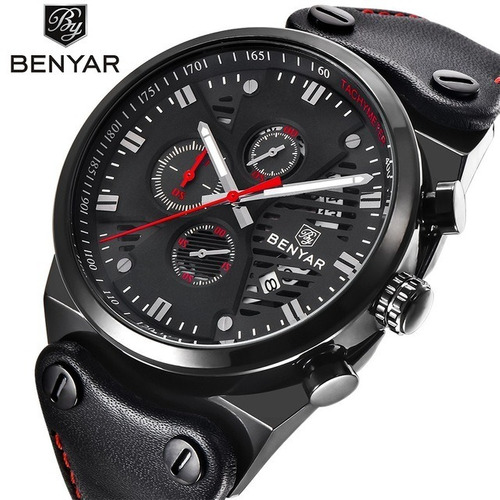 relógio benyar by5110m black - benyar brasil - loja oficial
