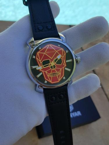 relogio benyar skull caveira cranio vermelho pronta entrega