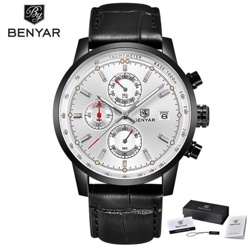 relógio benyar sporty edition 2018 silver black