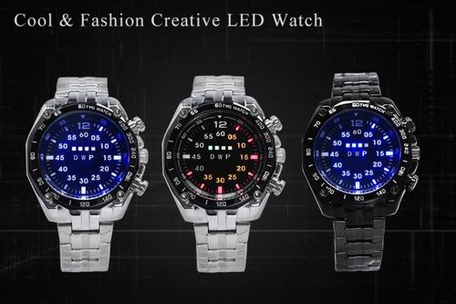 relógio binário digital tvg leds multicores moderno fashion