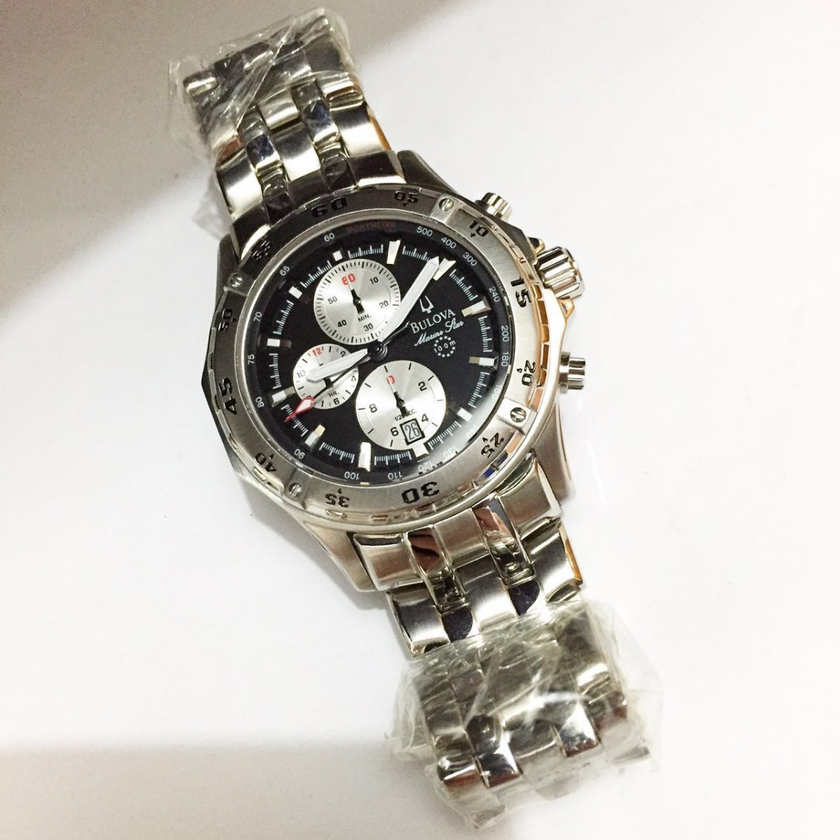 511a14212ff relógio blova chronograph prata fundo preto e branco aço. Carregando zoom.