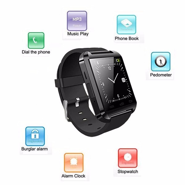 d57808c53cd Relogio Bluetooth Smart U8 Preto android Iphone 5 6 S5 Note - R  40 ...