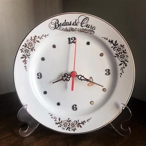 relógio bodas de ouro 50 anos de casamento - o490 - 25cm