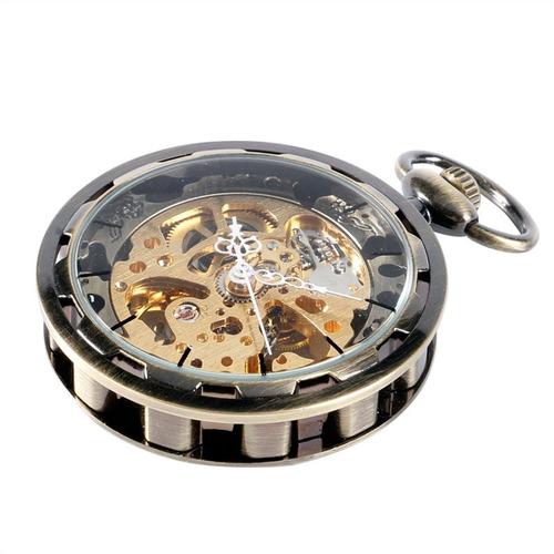 relógio bolso esqueleto automático retro novo imperdível