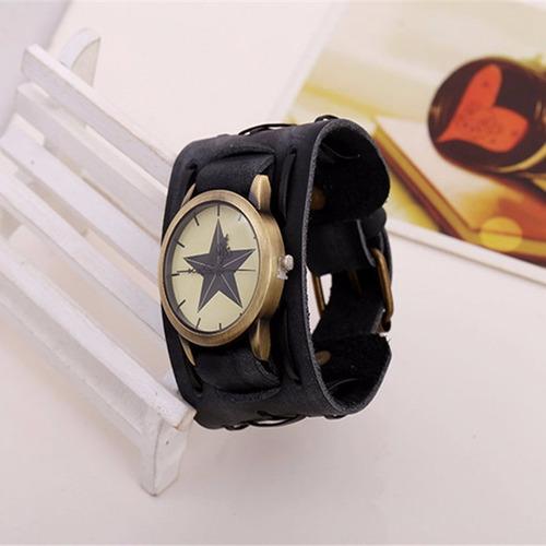 relógio bracelete couro preto masculino pulseira larga m4