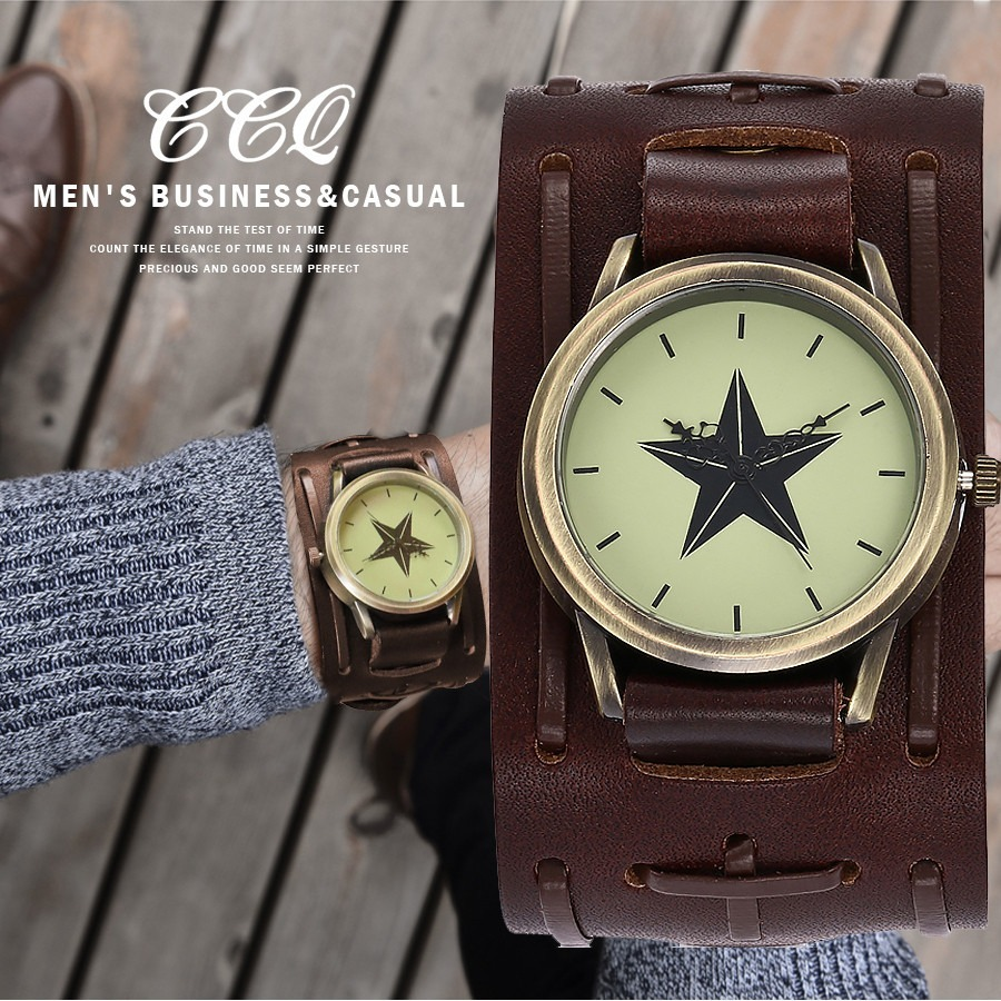 f355d4eb9e1 relógio bracelete em couro masculino pulseira larga quartz. Carregando zoom.