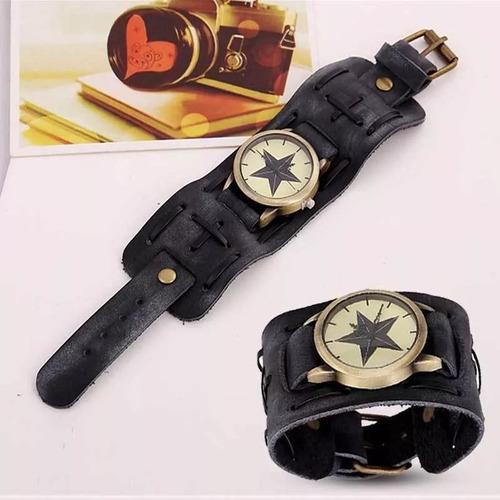 relógio bracelete estrela preto masculino pulseira larga m4