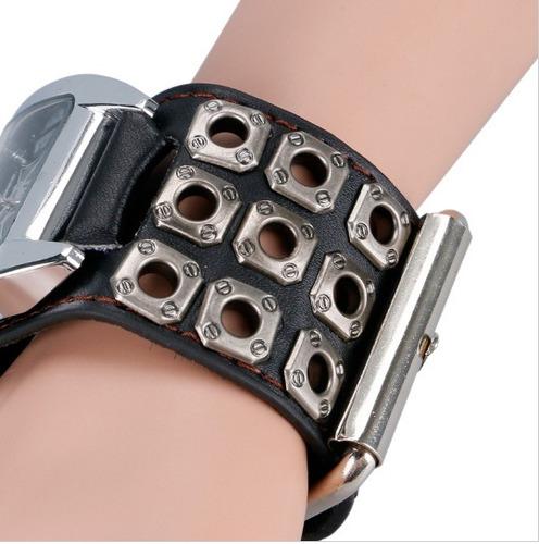 relógio bracelete punk caveira  masculino pulseira em couro