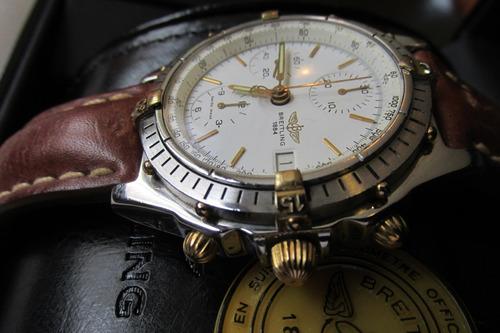 relógio breitling chronomat aço e outro vidro de safira