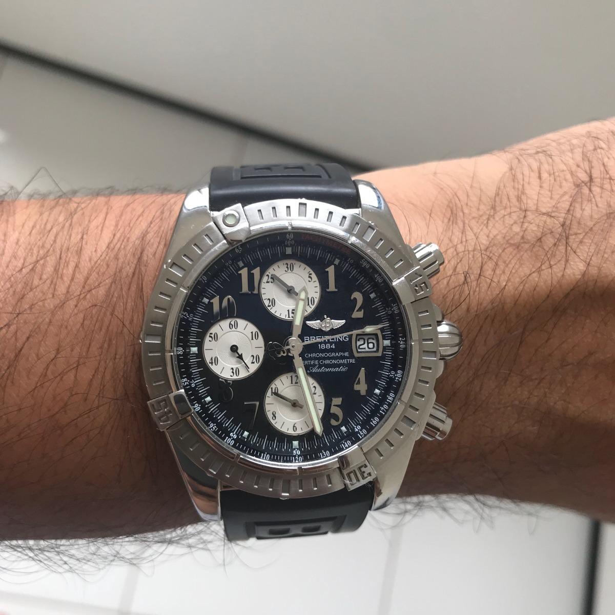 3b818f55ab6 relógio breitling chronomat evolution black original usado. Carregando zoom.