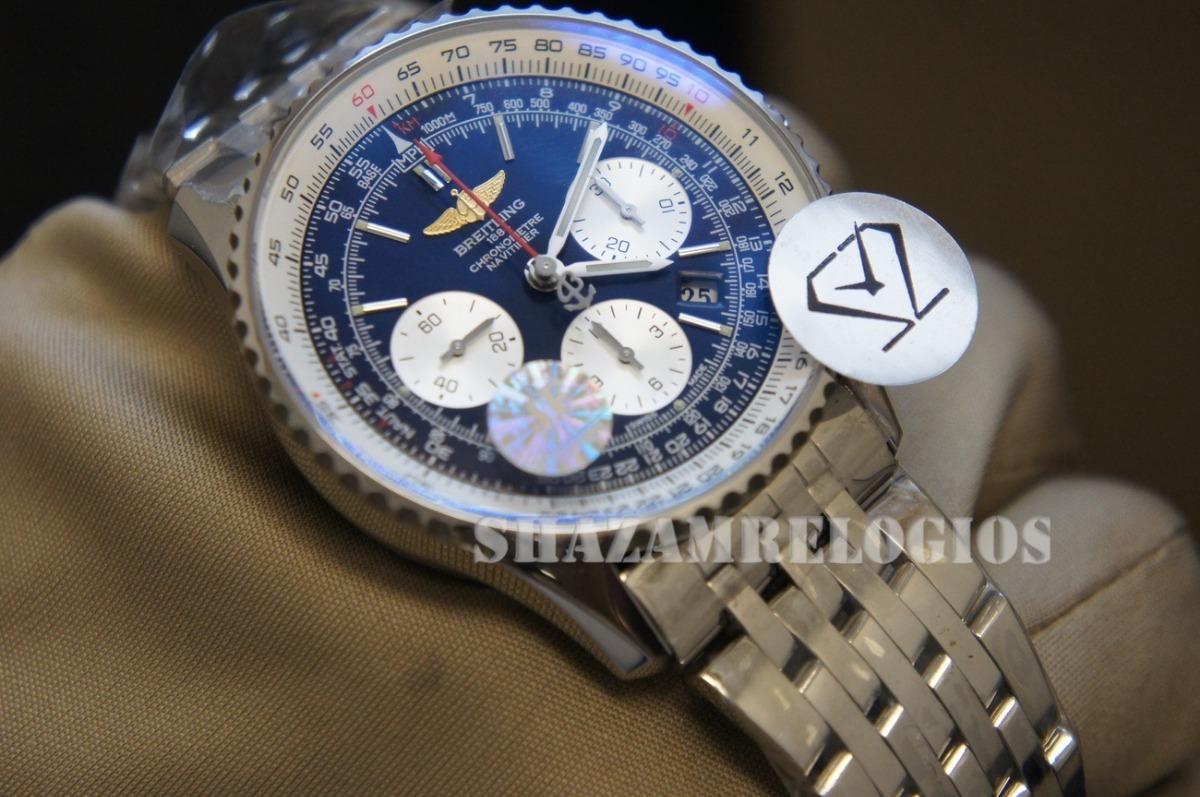 c104d6825ef Relogio Breitling Navitimer 43mm Azul Brecelete Aço Eta7750 - R ...