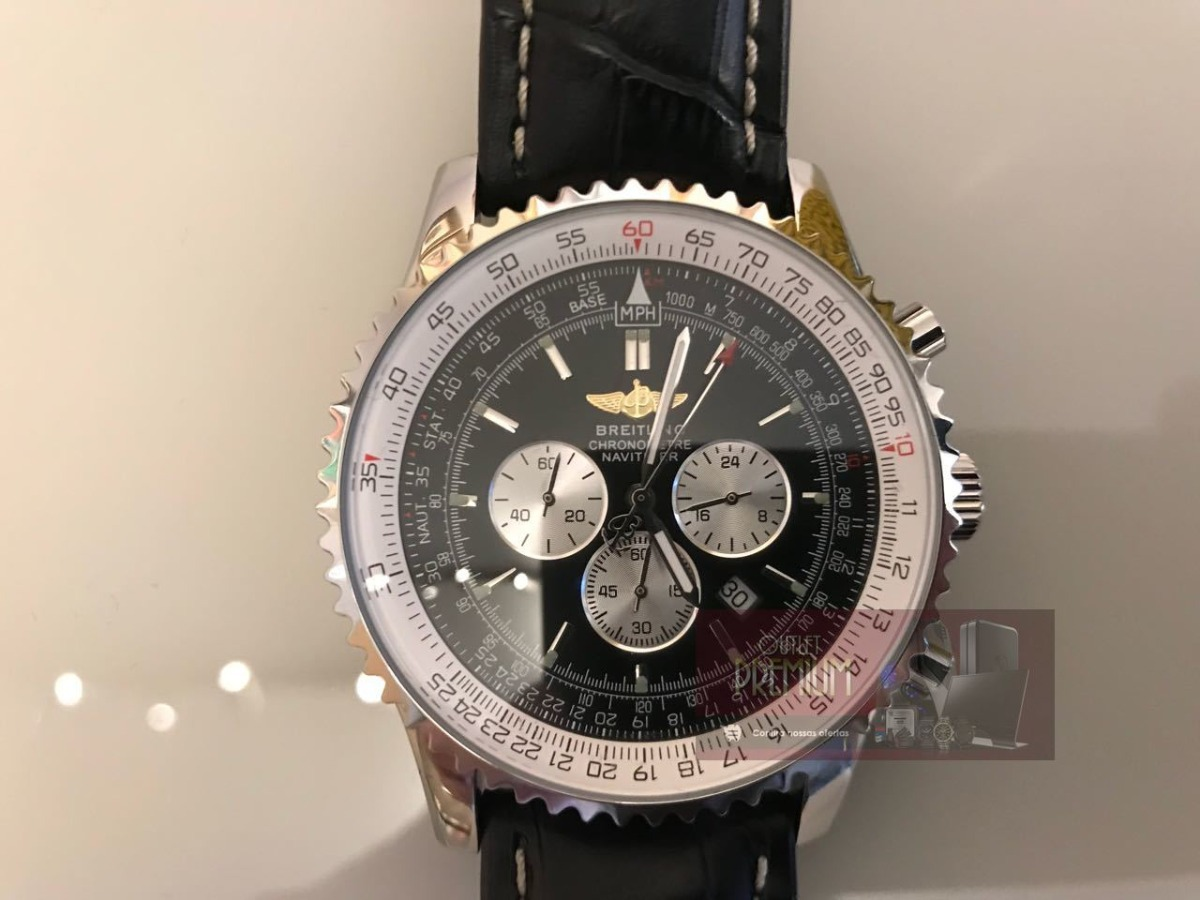 cbaac726aec relogio breitling prata preto pulseira couro + estojo g701. Carregando zoom.