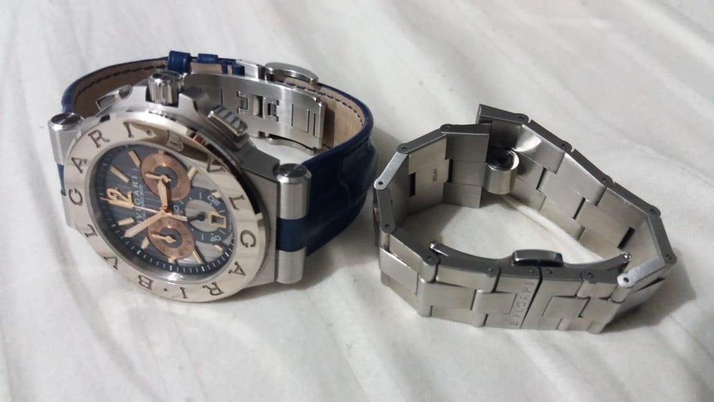 d83002b4e92 Carregando zoom... relógio bulgari calibro 303 ouro branco duas pulseiras