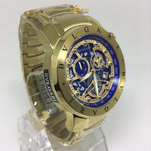 86917049aac Relógio Bulgari Esqueleto Banhado A Ouro Lindo - R  352