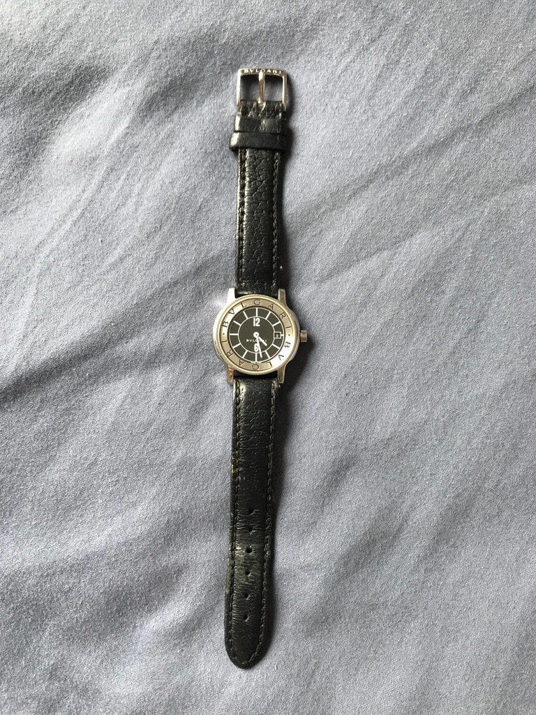 689a703a843 relógio bulgari solotempo pulseira de couro. Carregando zoom.