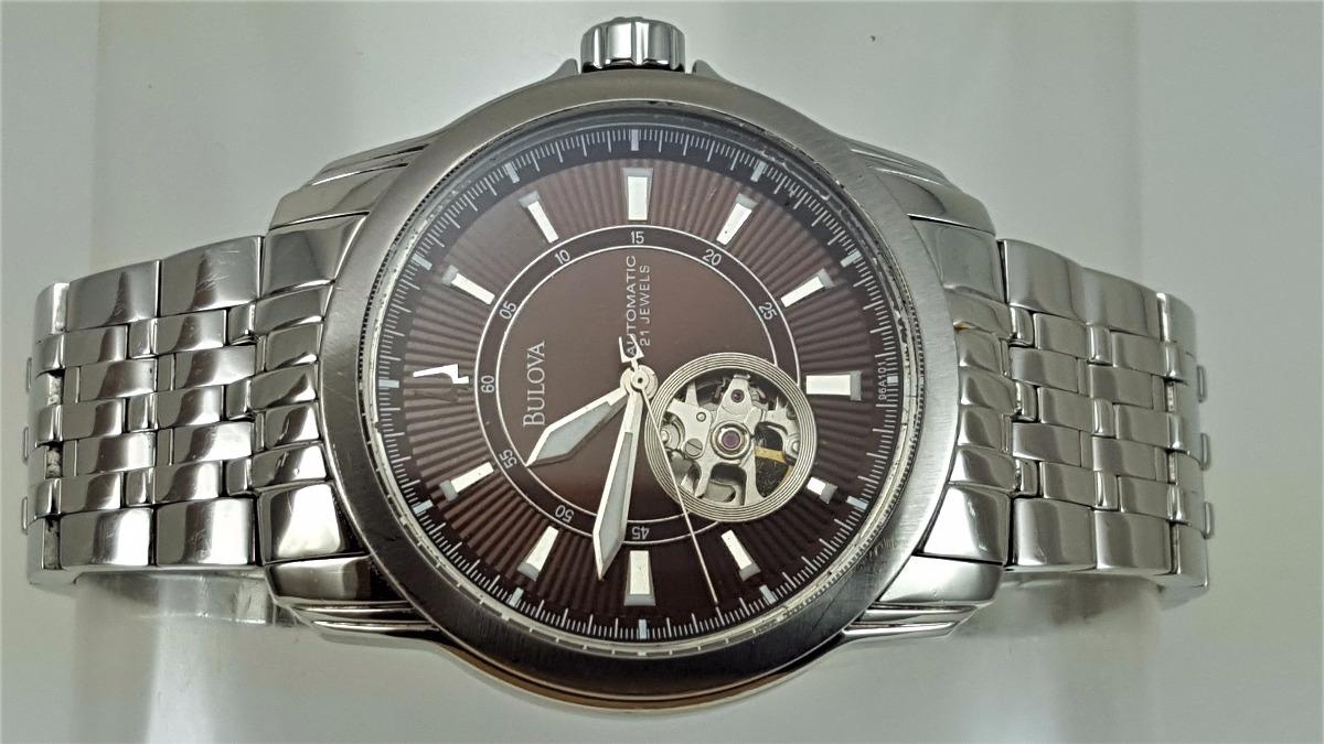 a1ed69fe357 relógio bulova 96a101 automatico esqueleto dial marrom. Carregando zoom.