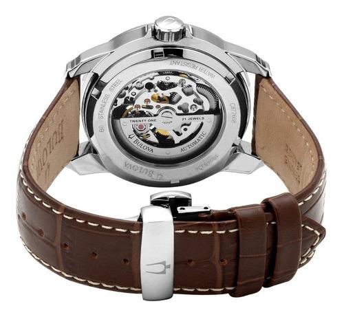 relógio bulova 96a108 orig bva100 mec autom leather!!!