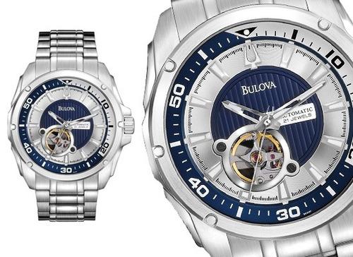 relógio bulova 96a137 automatico bva series azul original