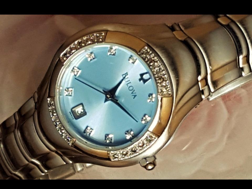 df57a16d82b Relógio Bulova 96r02 Visor Azul Claro