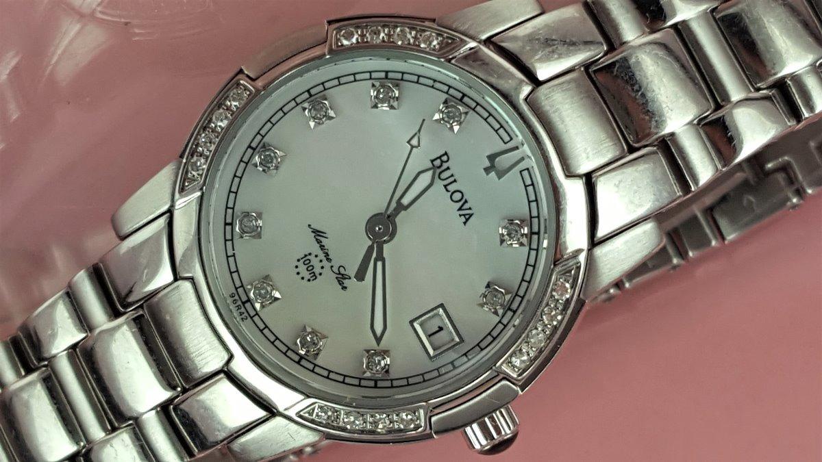 dbc6c630f26 Relógio Bulova 96r42 Visor Branco Perolizado