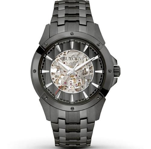 relógio bulova 98a147 automatico skeleton  black maravilhoso