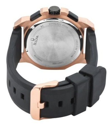 relógio bulova 98b118 orig chron anal silic black gold!