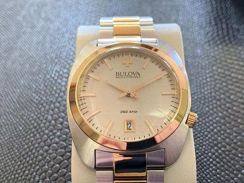 relógio bulova accutron ii gold 262khz 98b272