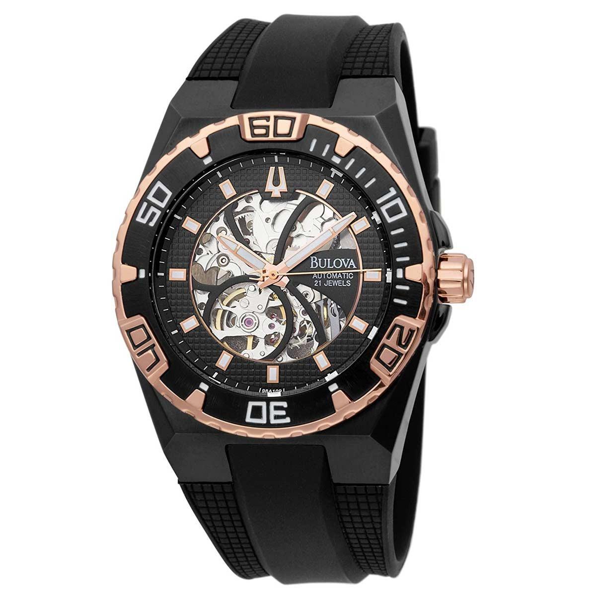 90f55479ac4 relógio bulova automatic 21 jewels 98a109 preto c dourado. Carregando zoom.
