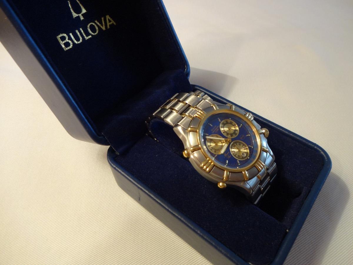 5936b7f23c2 relógio bulova cronograph alarm blue marine star vintage. Carregando zoom.