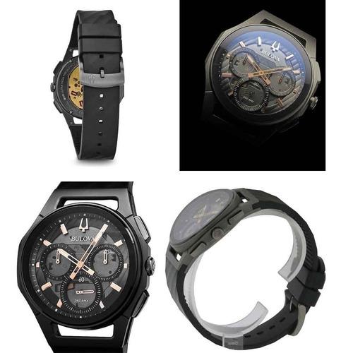 relógio bulova curv titânio cronógrafo 98a162 original nfe