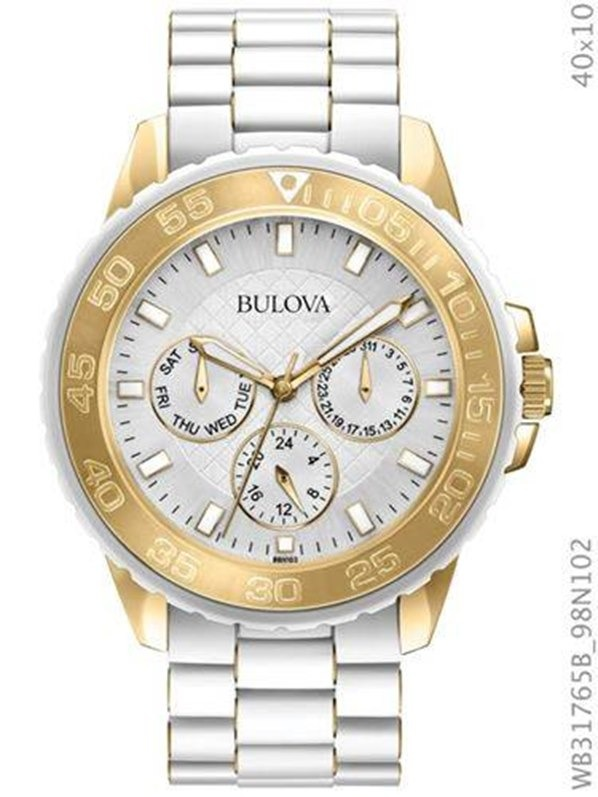 d76b9cd5c75 Relógio Bulova Feminino Branco E Dourado Wb31765b - R  1.397