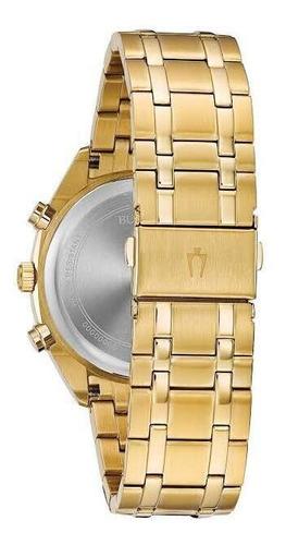 relogio bulova masculino classic dourado multifunção  97c109
