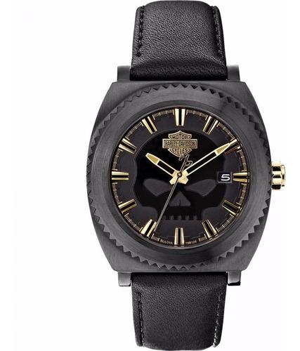 relógio bulova masculino harley davidson wh30028p preto