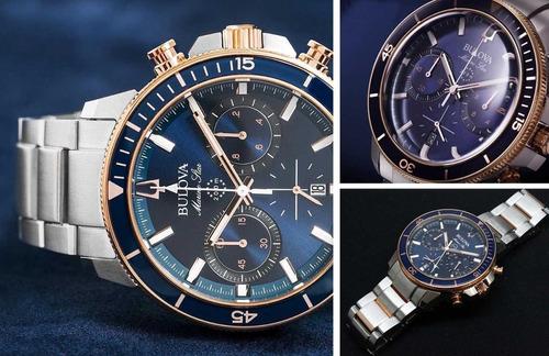 relógio bulova masculino marine star 98b301