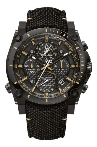 relógio bulova masculino precisionist 98b318 preto couro
