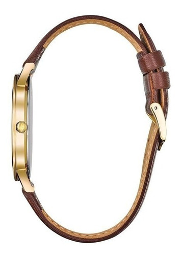 relógio bulova masculino slim 97b183 dourado couro marrom