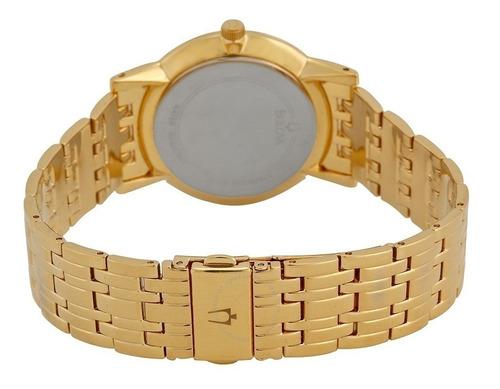 relógio bulova masculino slim wb21669h - 97a102 dourado
