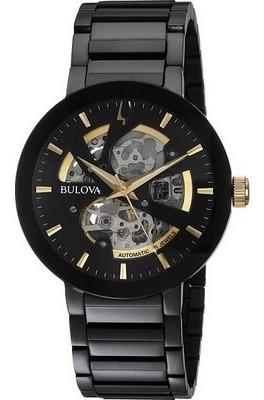 relógio bulova skeleton modern automatic 98a203