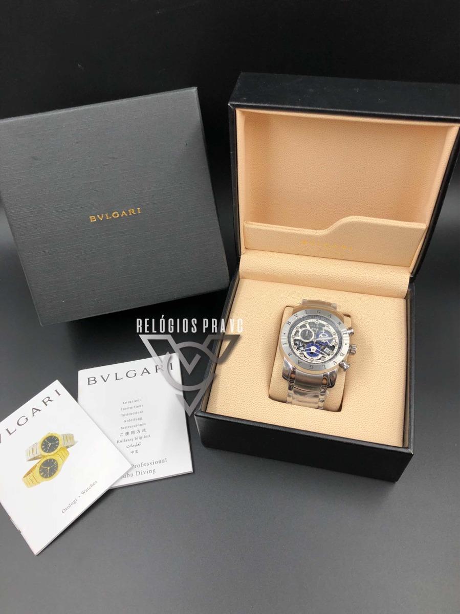 13164b334f0 relógio bv iron man skeleton prata + caixa com documentos. Carregando zoom.
