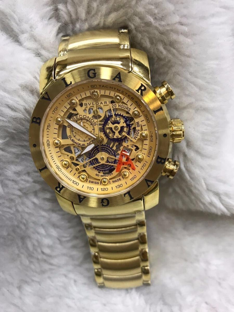 08fbbeebb1a Relógio Bvlgari Aço Eskeletum Dourado + Brinde - R  450