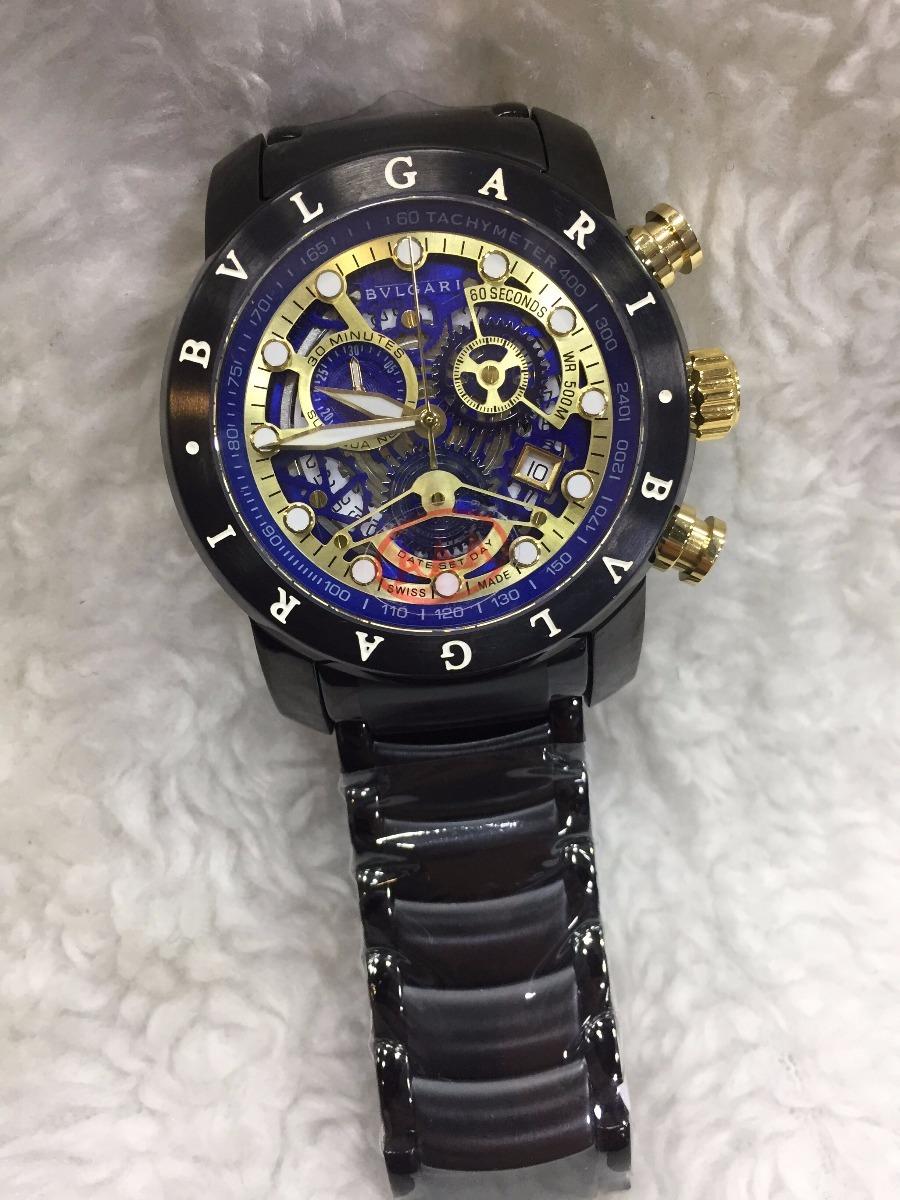 f078edd6dec Relógio Bvlgari Aço Preto E Azul + Brinde - R  499