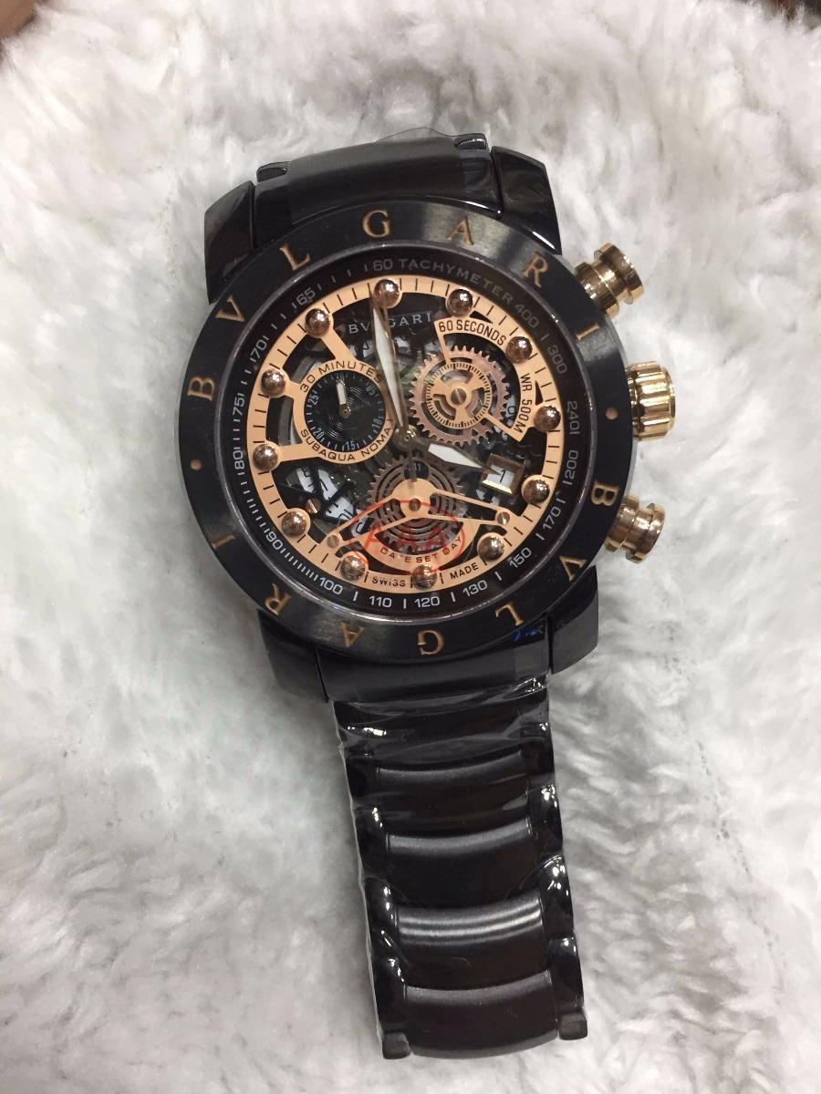 3af4f854f4e Relógio Bvlgari Aço Preto E Rosé + Brinde - R  499