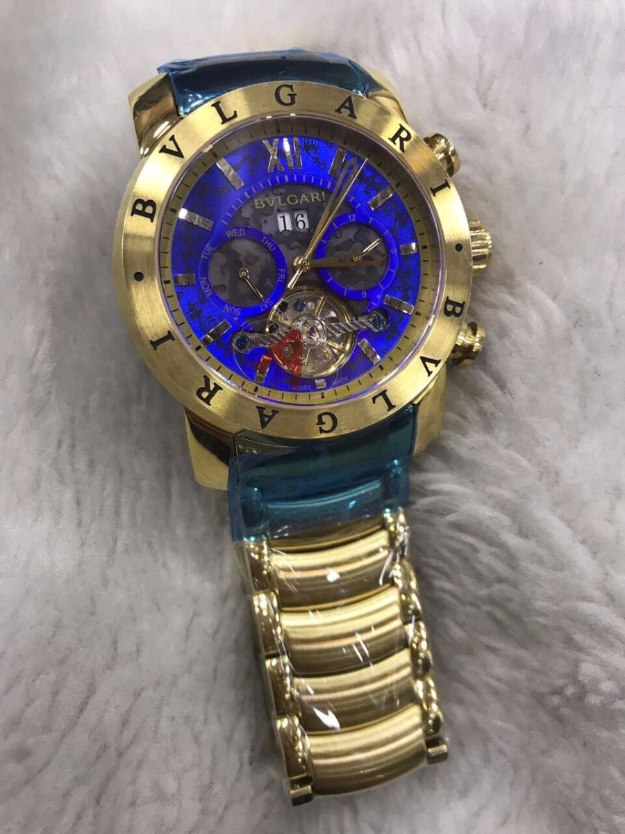 00e28ba1b2e Relógio Bvlgari Aço Yakusa Dourado Fundo Azul + Brinde - R  499