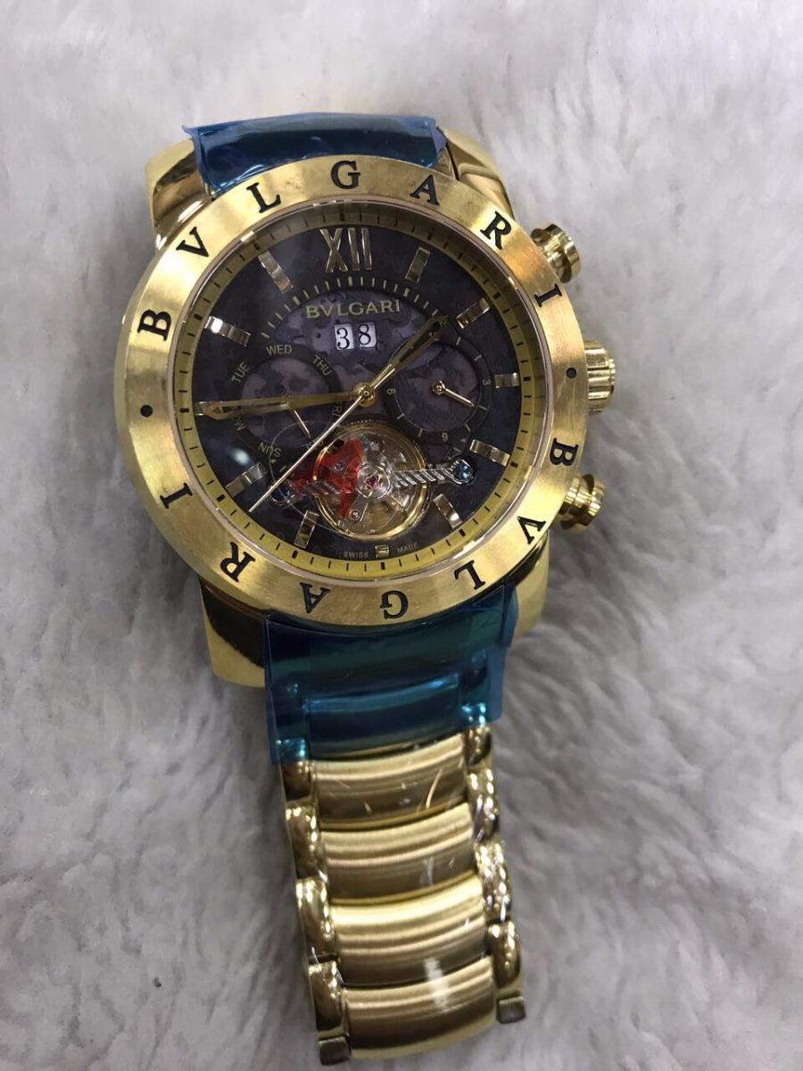 353d2e649a9 Relógio Bvlgari Aço Yakusa Dourado Fundo Preto + Brinde - R  499