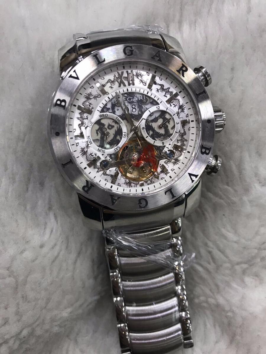 8e56ae2e42b Relógio Bvlgari Aço Yakusa Fundo Branco + Brinde - R  499
